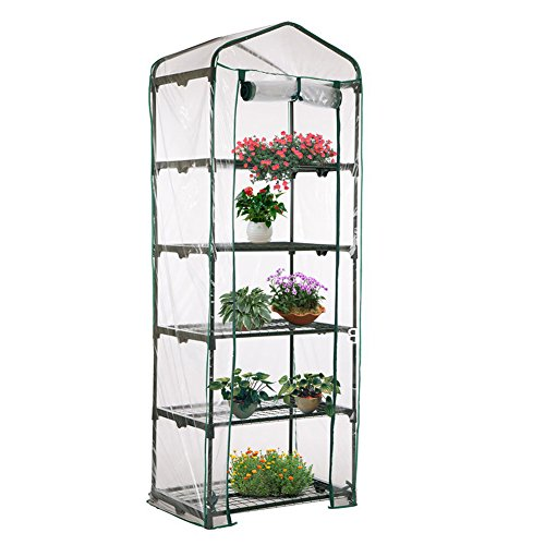 Mini Greenhouse plastic plants cover plant house for tomato and bonsai etc for plant pass the winter (without iron shelves) (L: 27 x 19x 73 inch) by Feileng