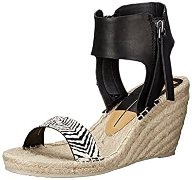 Dolce Vita Women's Gisele Espadrille Wedge Sandal, Black/White, 6 M US