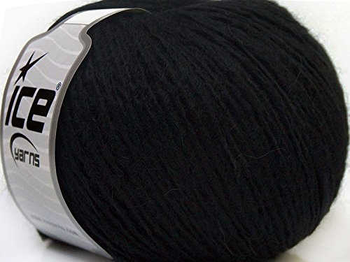 (Peru Alpaca Light DK Yarn - Black Merino Wool Alpaca Acrylic Blend 50 Gram 191 Yards)