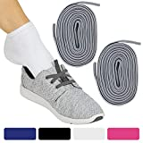 Vive Elastic Shoe Laces (Gray Pair) - No Tie, Lace Up, Flat Replacement Shoelaces for Men, Women, Sports, Running, Adults, Kids, Tennis, Disabled, Elderly, Dress Assist - One Size Long, Stretch Bands