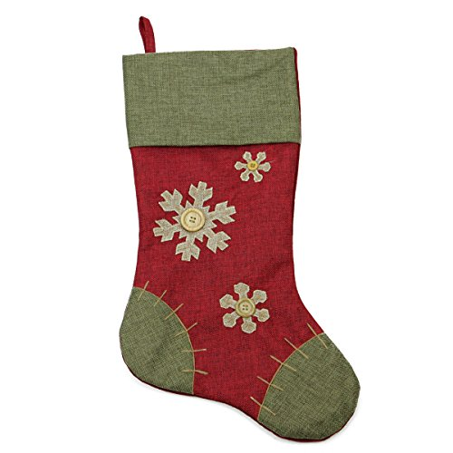 """20"""" Natural Red and Green Snowflake Christmas Stocking with Blanket Stitching Trim"""