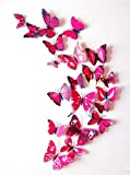 Amaonm 60 Pcs 5 Packages Beautiful 3d Butterfly Wall Decals Removable Diy Home Decorations Art Decor Wall Stickers & Murals for Babys Bedroom Tv Background Living Room (Rose Red)