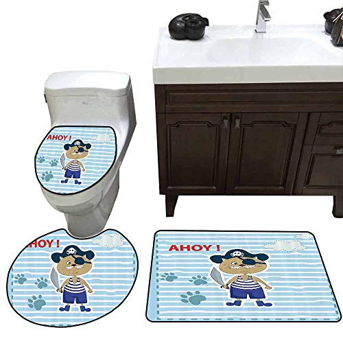 3 Piece Toilet Cover Set Ahoy Its a Boy Cute Cat Pirate Funny Paws Clouds Maritime Striped Framework Elongated Toilet Lid Cover Set Turquoise Violet Blue Red