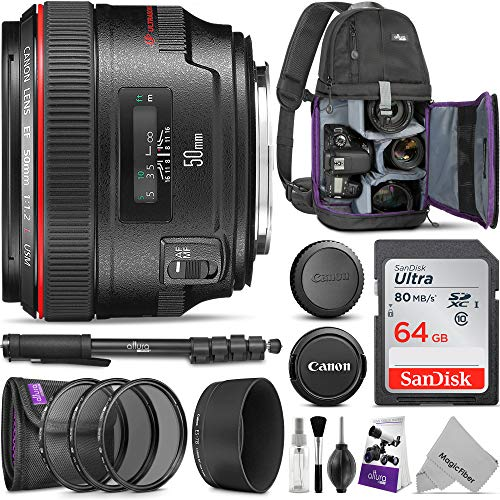 Canon EF 50mm f/1.2L USM Lens w/Advanced Photo and Travel Bundle - Includes: Altura Photo Sling Backpack, Monopod, Camera Cleaning Set (Canon Ef 50mm F 1-8 Ii Stm)