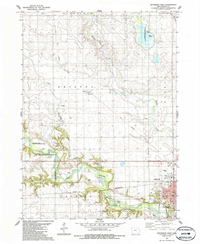 YellowMaps Jefferson West IA topo map, 1:24000 Scale, 7.5 X 7.5 Minute, Historical, 1986, Updated 1986, 26.7 x 22 in - Tyvek