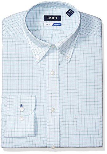 Mint 393 (IZOD Men's Dress Shirts Regular Fit Stretch Check, Mint Julip, 16-16.5