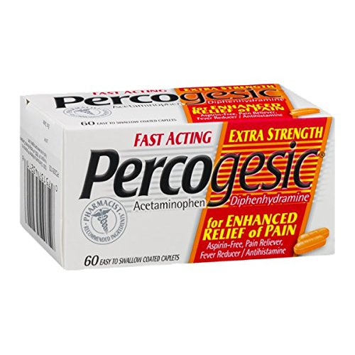 Pain Reducer (Percogesic Aspirin-Free Pain Reliever/Fever Reducer, Extra Strength, Easy to Swallow Coated Caplets, 60 coated)