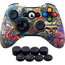 9CDeer 1 Piece of Silicone Water Transfer Protective Sleeve Case Cover Skin + 8 Thumb Grips Analog Caps for Xbox 360 Controller, Monsters