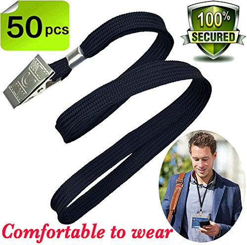 Bulk Lanyard Black Lanyards for Id badges,Durably Woven Lanyards with Badge Clip Bulldog Clips Neck Flat Lanyard for Key Office ID Name Tags and Badge Holders,Cotton lanyards 50 pack (Badge Cotton)