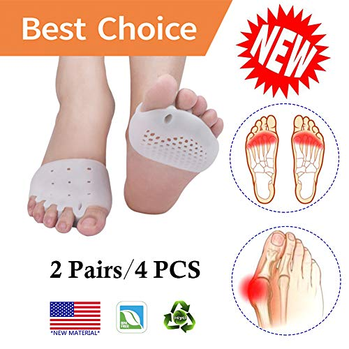 Metatarsal Pads, Toe Separator, Gel Metatarsal Cushion Toe Separators, (4 PCS) *New Material* Forefoot Pads, Toe Spacers,Breathable & Soft Gel, Best for Diabetic Feet, Blisters, Forefoot Pain.