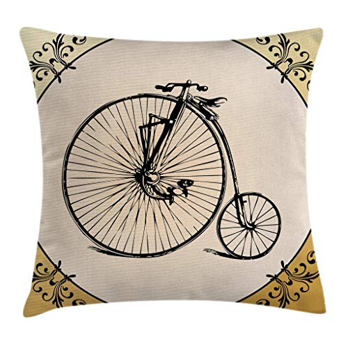 """Ambesonne Bicycle Throw Pillow Cushion Cover, Retro Big and Small Tired Bicycle on a Vintage Round Framed Floral Background Boho, Decorative Square Accent Pillow Case, 24"""" X 24"""", Cream Tan"""