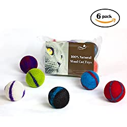 Kittycentric Wool Ball Toys with Rattle Feature for Cats and Other Pets- 6 Pack, Assorted Colors