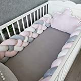 Baby Crib Bumper Plush Knotted Braided Bumper Handmade Soft Knot Pillow Sleep Safety Nursery Cradle Decor Newborn Gift Crib Protector (4 Strands) Gray+White+Pink 79 inch