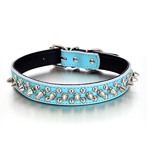Rachel Pet Products Rivet Spiked Studded Genuine Leather Dog Collar for Small or Medium Pet, Blue, L