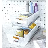 madesmart 2 W Two Tier Organizer, Large, Frost-With Dividers