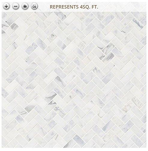 Calacatta Cressa Herringbone 12 in. x 12 in. x 10 mm Honed Marble Mesh-Mounted Mosaic Tile