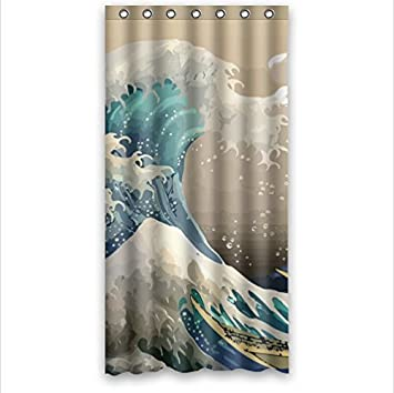 Curtains Ideas 36 wide shower curtain : Amazon.com: classic Japanese The Great Wave Off Kanagawa pattern ...