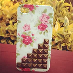 Studded Iphone 4 Case, Studded iPhone 4s Case with Bronze Studs,Flower Case