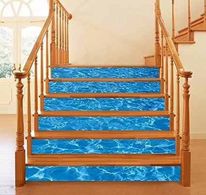 Agua de mar 3D piscina escalera pegatinas impermeable Wallpaper Home decoración desmontable piso de pared pegatinas 6pcs/set: Amazon.es: Bricolaje y herramientas
