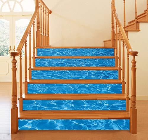 Agua de mar 3D piscina escalera pegatinas impermeable ...