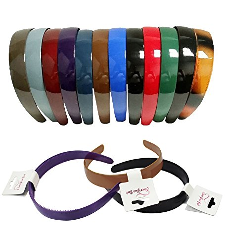 Plastic Hairbands - Hard Headbands - 12 Pack Dark Colors by CoverYourHair -