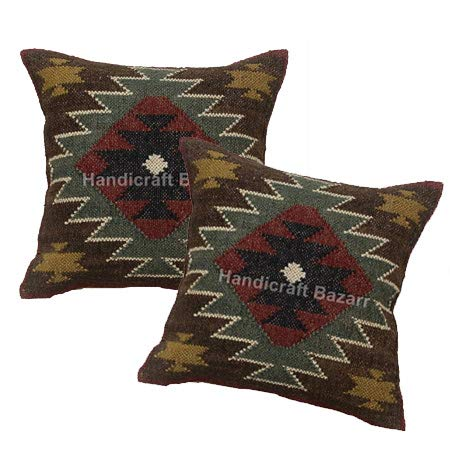 handicraft Bazar Indian - Juego de 3 Fundas de cojín de Yute ...