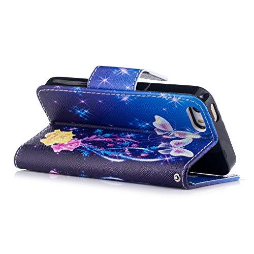 Crisant Hübsche Blume Schmetterling Drucken Design schutzhülle für Apple iPhone 5 5S / SE,PU Leder Wallet Handytasche Flip Case Cover Etui Schutz Tasche mit Integrierten Card Kartensteckplätzen und St