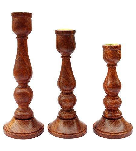 SKAVIJ Handmade Wooden Candle Holder Stand for Home Decor Decorative Tealight Gifts Item, Set of 3 by SKAVIJ