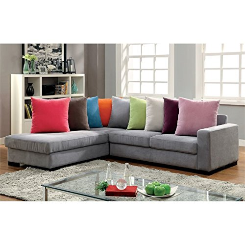Furniture of America Trantham Flannelette Sectional in Gray