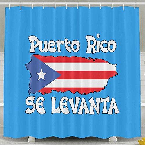 Puerto Rico Se Levanta Comfy Mildew Resistant Shower Curtain Waterproof Water-Repellent Antibacterial (Puerto Rico Water)