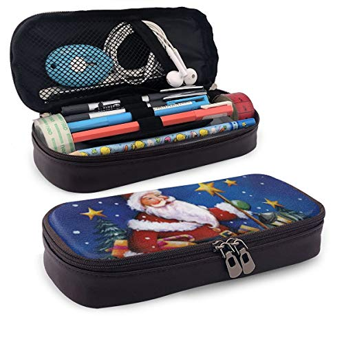 Pen Pencil Case PU Leather Christmas Santa Snow Zippered Pouch for Girl Storage Work Stationery Bag Holder College…