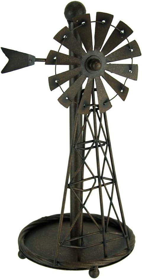 Distressed Metal Art Windmill Paper Towel Holder