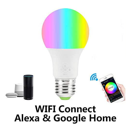 Bombilla Alexa WiFi de despertar, control de color de teléfono celular, suave, blanco