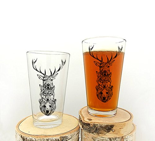 Elk Wolf Bear Totem Pint Glasses- Screen Printed Pint Glass Set - Black Bear Glass