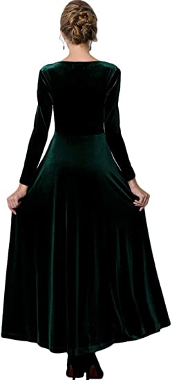 Women Long Sleeve V-Neck Velvet Formal Dress
