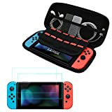 Nintendo Switch Carry Case with 2 Screen Protector, 12 Game Cartridge Card Holder, Hard Shell Traveling Carrying Storage Bag Pouch Pouch for Nintendo Switch 2017 Console,Gamepad,Charger Cable,Joy Con