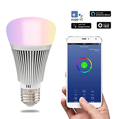 Smart LED WiFi LED, luz regulable, hasta 16 millones de colores, pilotable App, compatible con Alexa y Google Home. [Clase de eficiencia energética A+]
