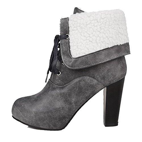 VogueZone009 Damen Schnüren Niedriger Absatz Rein Niedrig-Spitze Stiefel mit Knoten, Grau, 37