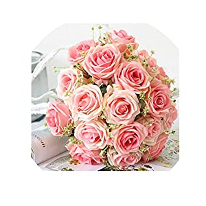 Bride Wedding Bouquet Polyester 9 Heads Rose Gypsophila Bouquet Bridesmaid Artificial Silk Flower DIY Wedding Accessories,Pink