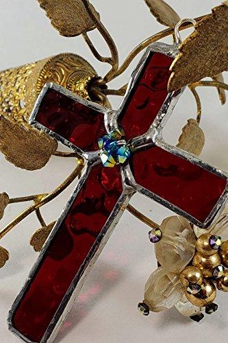 Handmade Mini Cross Stained Glass Suncatcher Christian Ornament by Art Integrations