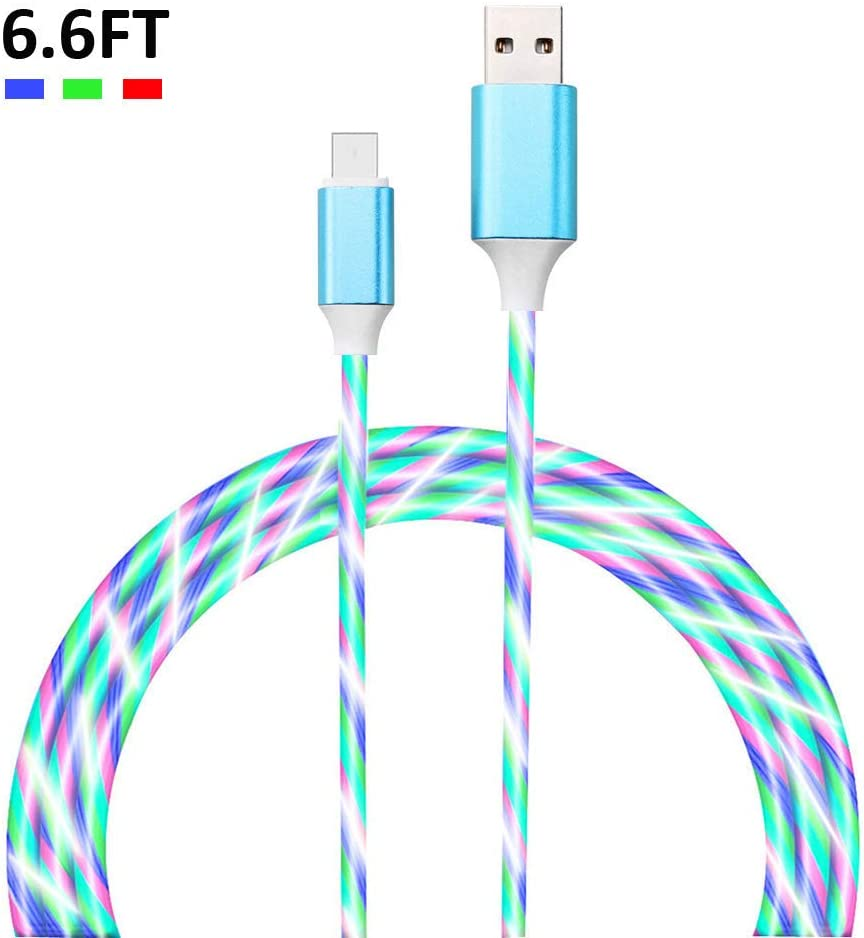 Charging Cable Round USB Data Cable Can Be Charged and Data Transmission Synchronous Fast Charging Cable-Turquoise Hearts Green Beautiful Day Drawn Holiday