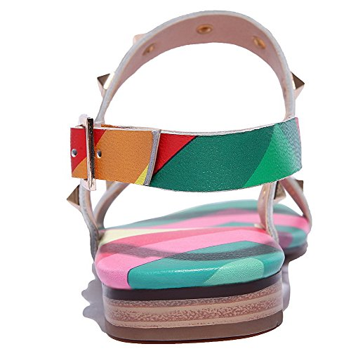 Low Studded Multicoloured Toe Sandals Buckle Womens Open Soft Material AmoonyFashion heels nYO861aw