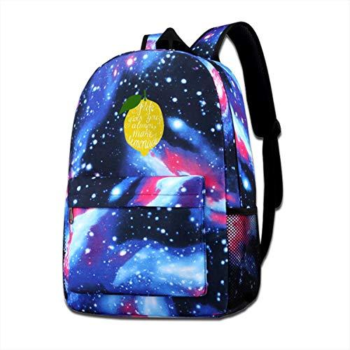 Coollifea School Bag Gives You Lemons Make Lemonade Starry Sky Book Bag Quality Big Galaxy Backpack
