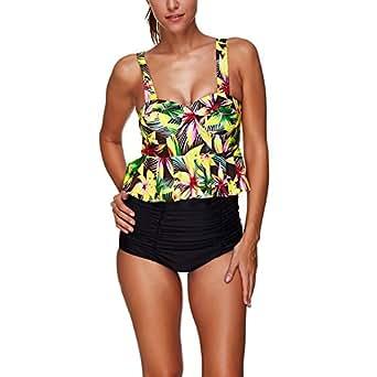 Women's Tankini Sets Swimwear Tank Top Floral Print