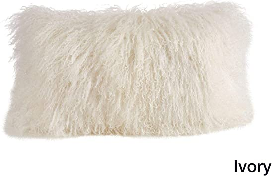 1 Piece Ivory Solid Pattern Mongolian Lamb Fur Plush Lumbar Pillow, Beautiful Fluffy Touch Texture Design, Glam Luxury Soft Comfy Decorative Rectangle Cushion, Knife Edged Borders, Polyester Wool