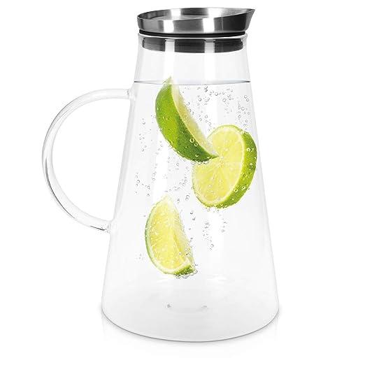 Navaris Jarra de Cristal de 1.6L para Agua - Botella de Vidrio con Filtro de Aluminio - Decantador con Tapa para Todo Tipo de Bebidas