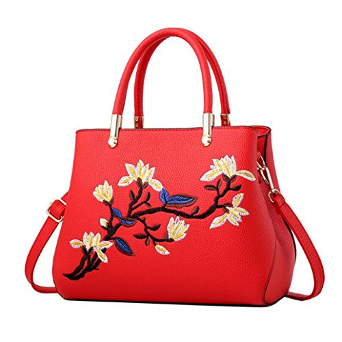 Elegant Ladies Messenger Red Tote Leather Women Floral KONFA Shoulder Crossbody Bags Bag 5zx8wgqR