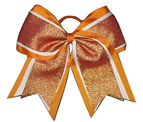 "Price comparison product image NEW ""SHIMMER Orange"" Cheer Bow Pony Tail 3"" Ribbon Girls Hair Bows Cheerleading Dance Practice Football Games Uniform Competition Halloween"