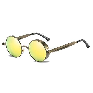 MUCHAO Gafas de sol con montura redonda de metal con lentes ...