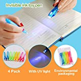 4 Pack Invisible Ink Pens with UV light, FLYOME